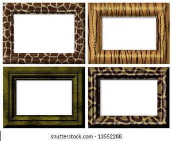 4 isolated framework for photos. On a white background.