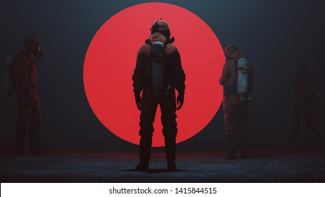 4 Men in a Hazmat suit Inspecting a Big Red Alien Sphere in a foggy void 3d Illustration 3d render