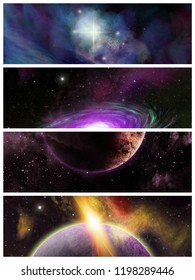 4 Sci-Fi banners. Original illustrations of a fantasy space scene. Nebula and alien planets.