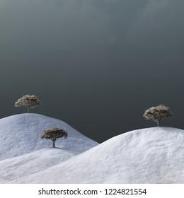 4 seasons, bare trees in a winter landscape, 3d illustration