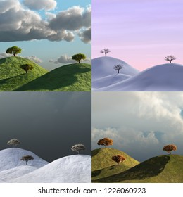 4 seasons, trees in a landscape, time lapse set
