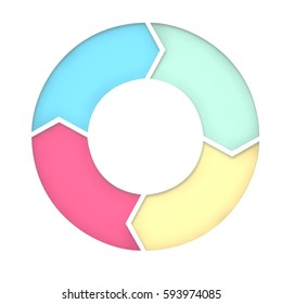 4 steps diagram for presentation background. Five arrows for cyclic diagram. 3D Rendering