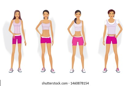 4 types of figures of women. Women in sportswear are standing. Realistic illustration