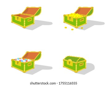 4 types of green treasure chests