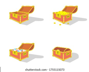 4 types of red treasure chests