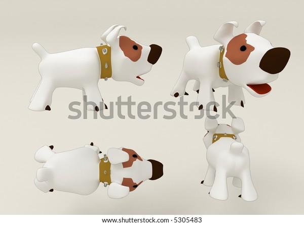 4 Views 3d Beautiful Dog Stock Illustration 5305483