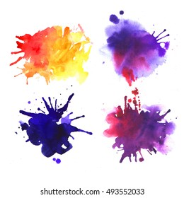 4 watercolor spots yellow, blue and violet. Drawing by hand.