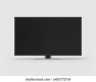 40 inch widescreen television on a light grey background. 3d render. Front view. Isolated Objects Series.