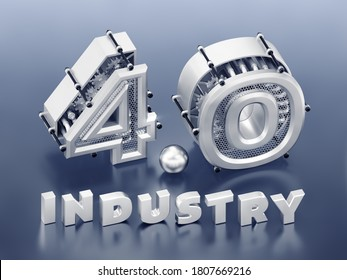 4.0 Industry Typography. Three-dimensional digits, which are represents abstract mechanisms composed into the number 4.0 and standing behind of the word Industry. 3D-rendering graphics.