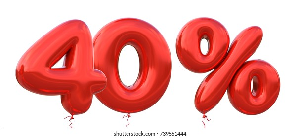 40% off discount promotion sale made of realistic 3d Red helium balloons. Illustration of balloon percent discount collection for your unique selling poster, banner ads ; Christmas, Xmas sale and more