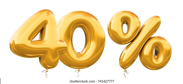 40% off discount promotion sale made of realistic 3d gold helium balloons. Illustration of balloon percent discount collection for your unique selling poster,banner ads ; Christmas, Xmas sale and more