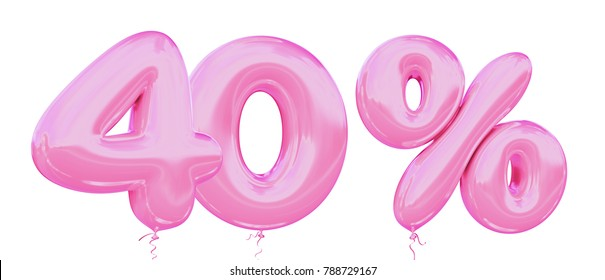 40% off discount promotion sale made of realistic 3d Pink helium balloons. Illustration of balloon percent discount collection for your unique selling poster, banner ads; Valentine's day sale and more