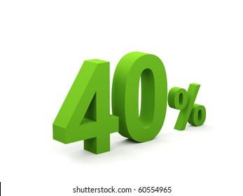 40 percent isolated on white background. 40%
