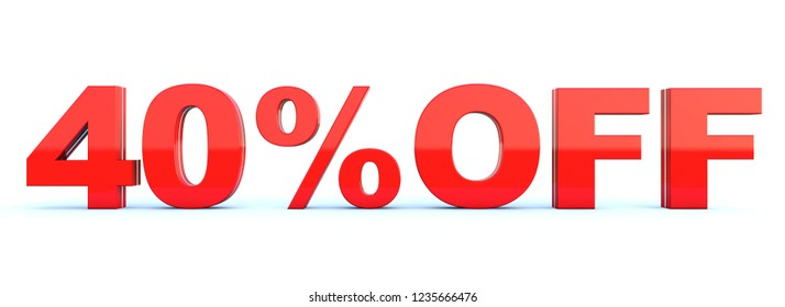 40 percent off discount - glossy red text on white background wide banner 3D render