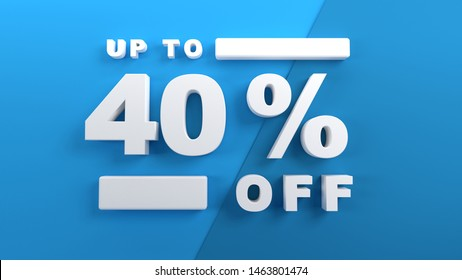 Up to 40 percent off, special offer banner, 3d text on blue background, 3d render