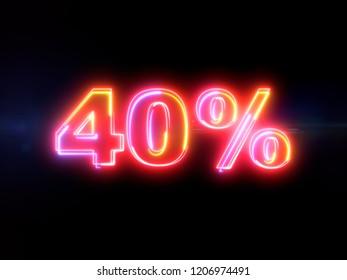 40 percent sign - colorful glowing outline alphabet symbol on blue lens flare dark background