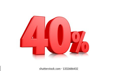 40% Red Fourty percent on a white background. 3d render illustration.