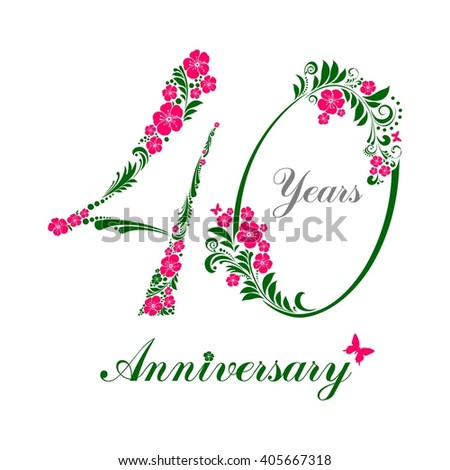 40 Years Anniversary Happy Birthday Card Celebration Background With Number Forty And Place For