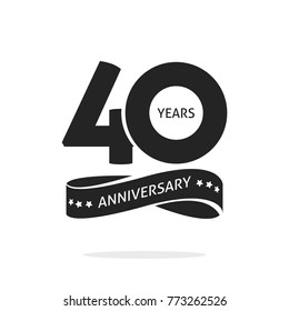 40 years anniversary logo template isolated on white, black and white stamp 40th anniversary icon label with ribbon, forty year birthday seal symbol image