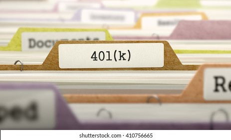 (401)K Concept on File Label in Multicolor Card Index. Closeup View. Selective Focus. 3D Render.