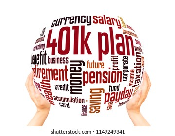 401k plan  word cloud sphere concept on white background.