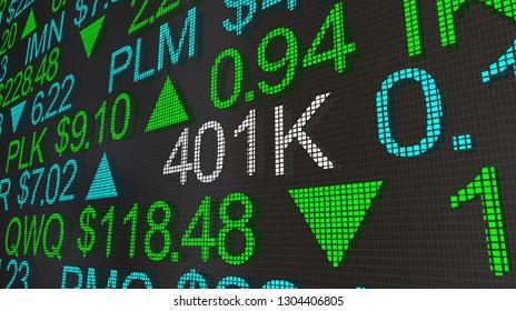 401K Retirement Account Stock Market Ticker Words 3d Illustration