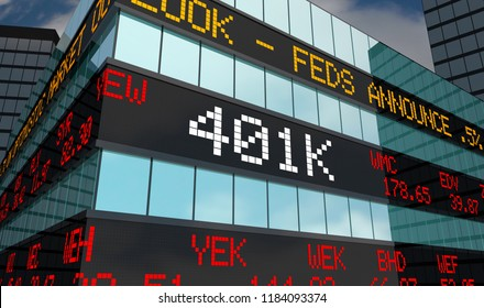 401K Retirement Savings Investment Account Stock Market Ticker 3d Illustration