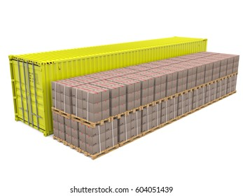 40ft shipping container isolated 3d rendering