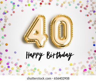 40th Birthday celebration with gold balloons and colorful confetti glitters. 3d Illustration design for your greeting card, birthday invitation and Celebration party of forty years anniversary