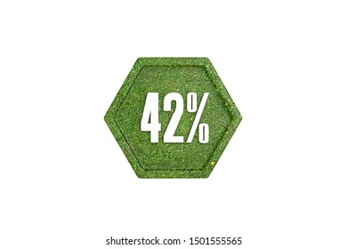 42 percent 3d sign with grass texture pattern concept isolated on white background, 3d illustration.