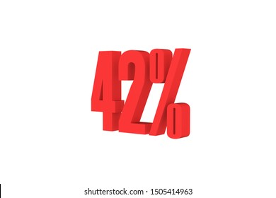 42 percent 3d text in red color isolated on white color background, 3d illustration.