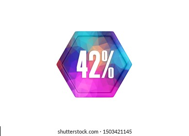 42 percent with colorful triangles on white background, 3d illustration.