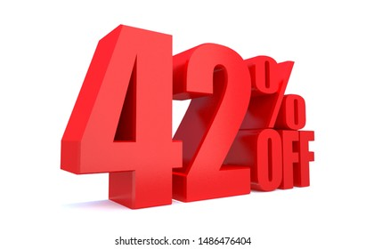 42 Percent off 3d Sign on White Background, Special Offer 42% Discount Tag, Sale Up to 42 Percent Off,big offer, Sale, Special Offer Label, Sticker, Tag, Banner, Advertising, offer Icon