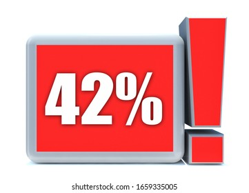 42 Percent off 3d Sign on White Background, Special Offer 42% Discount Tag, Sale Up to 42 Percent Off,big offer, Sale, Special Offer Label, Sticker, Tag, Cashback, Advertising, offer Icon