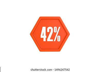 42 percent text in white with orange color isolated on white background, 3d illustration.