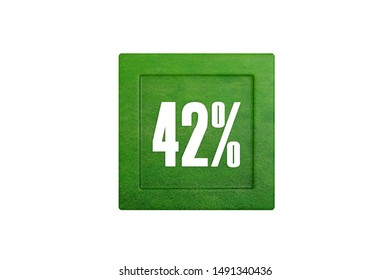 42 percent text written with green grass pattern isolated on white background, 3d illustration.