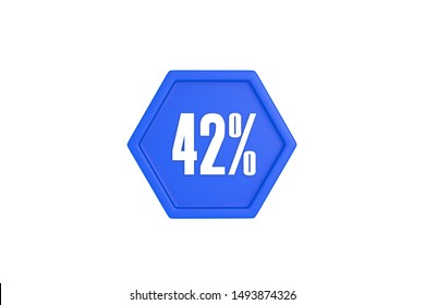 42 percent text written in white with blue color isolated on white background, 3d illustration.