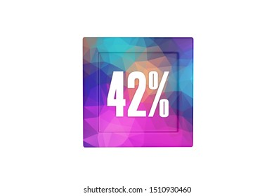 42 percent with three-dimensional modern pattern isolated on white color background, 3d illustration.