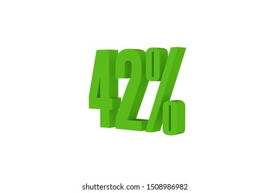 42 percent three-dimensional render in green color isolated on white color background, 3d illustration.