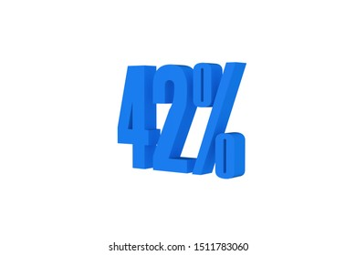 42 percent three-dimensional text in light blue color isolated on white color background, 3d illustration.