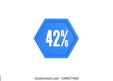 42 percent in white color with light blue color isolated on white background, 3d illustration.