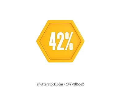 42 percent in white with yellow color concept isolated on white background, 3d illustration.