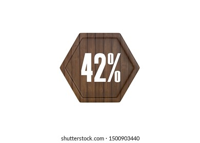 42 percent in wooden texture pattern concept isolated on white background, 3d illustration.