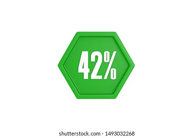 42 percent written in white with green color isolated on white background, 3d illustration.