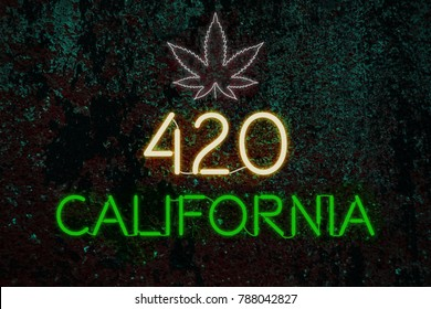 420 California legalize cannabis Neon tube on darkness background.