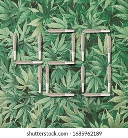 420 Photo illustration with cannabis joints on marijuana leaf background