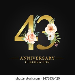 43 years anniversary celebration logotype. Flower made of paint floral and leaf watercolor on gold numbers layer path, clipping path isolated on black background. Design for wedding invites card.