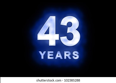 43 Years in glowing white numbers and text with a mottled patterning on blue background suitable for a birthday, celebration or anniversary
