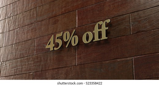 45% off - Bronze plaque mounted on maple wood wall  - 3D rendered royalty free stock picture. This image can be used for an online website banner ad or a print postcard.