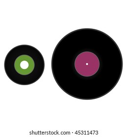 """45 rpm 7"""" and 33 1/3 rpm 12"""" vinyl records"""